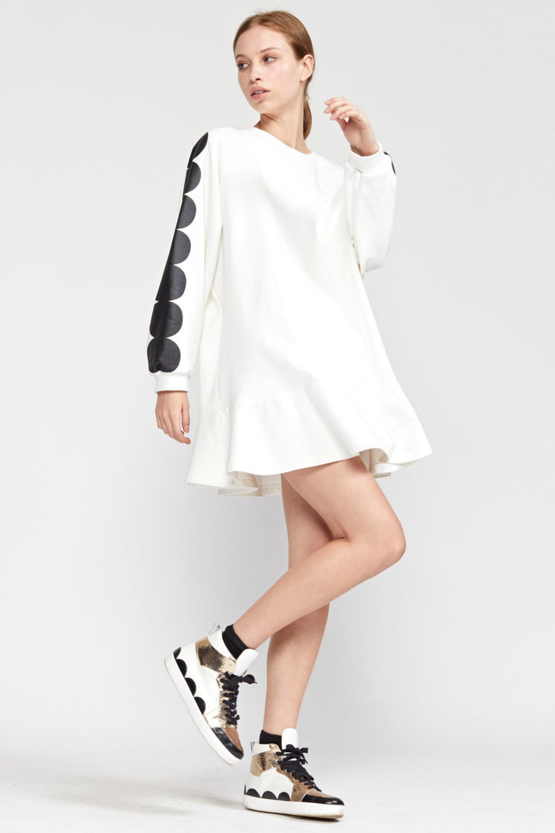 SOFIE SWEATSHIRT DRESS in WHITE