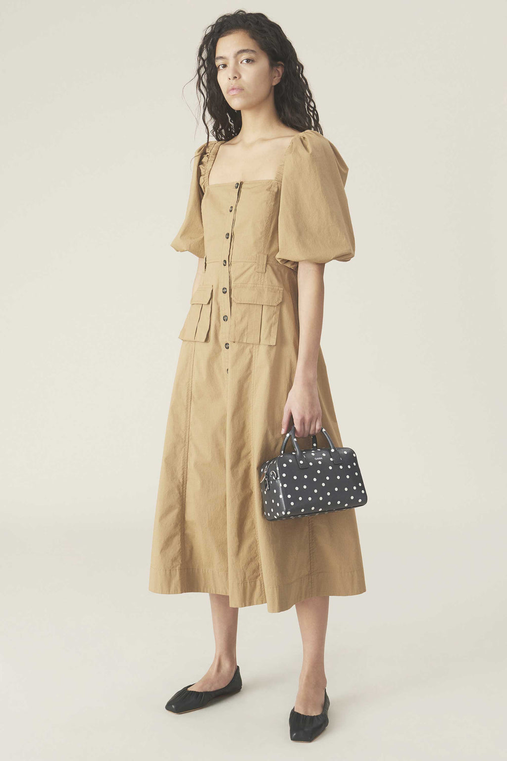 RIPSTOP COTTON CHINO PUFF SLEEVE DRESS - TAN