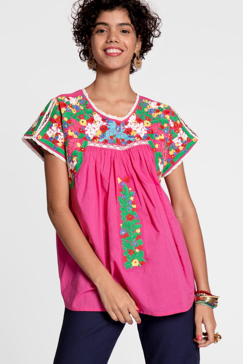 EMBROIDERED FLOWER TOP - PINK