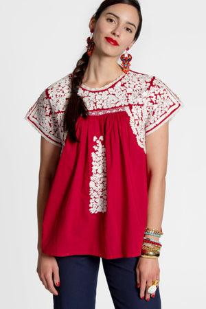 EMBROIDERED FLOWER TOP - RED