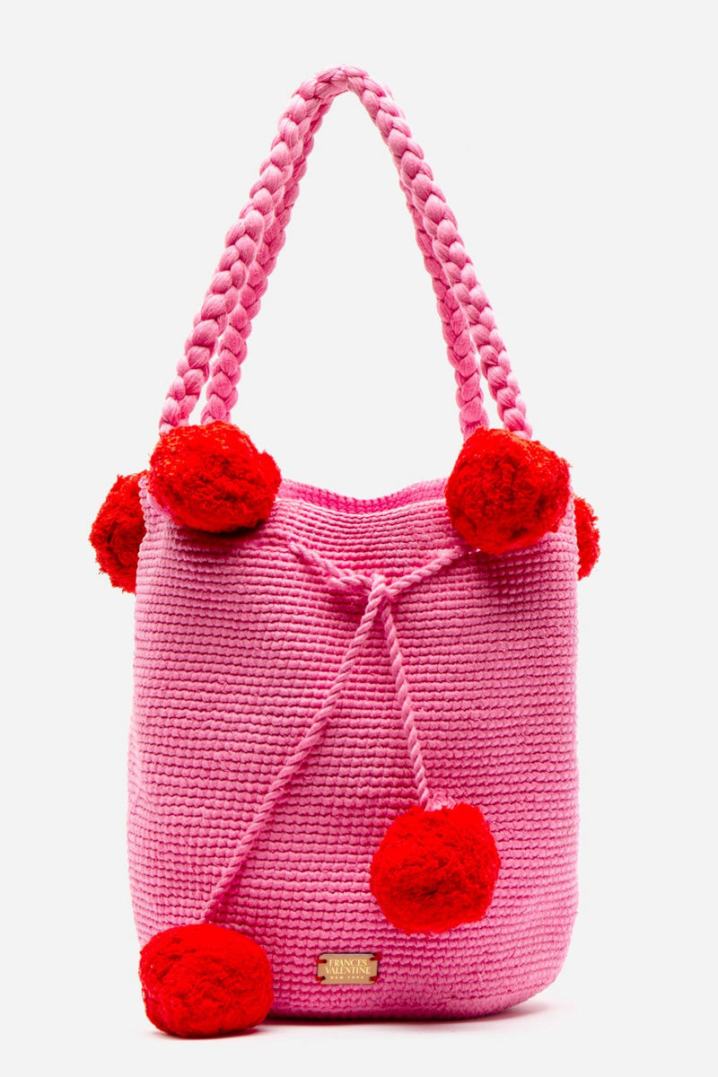 HAILEY WOVEN BUCKET BAG - PINK