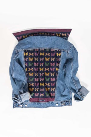 DENIM JACKET WITH GUCCI BUTTERFLY SCARF - BLUE MULTI
