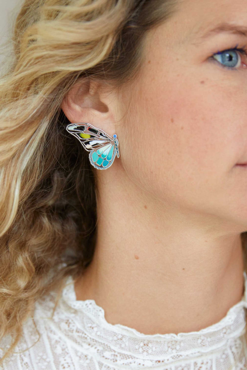 MIXED BUTTERFLY STUD - TURQUOISE