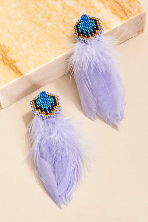 BOWIE FEATHER EARRINGS - LIGHT LILAC