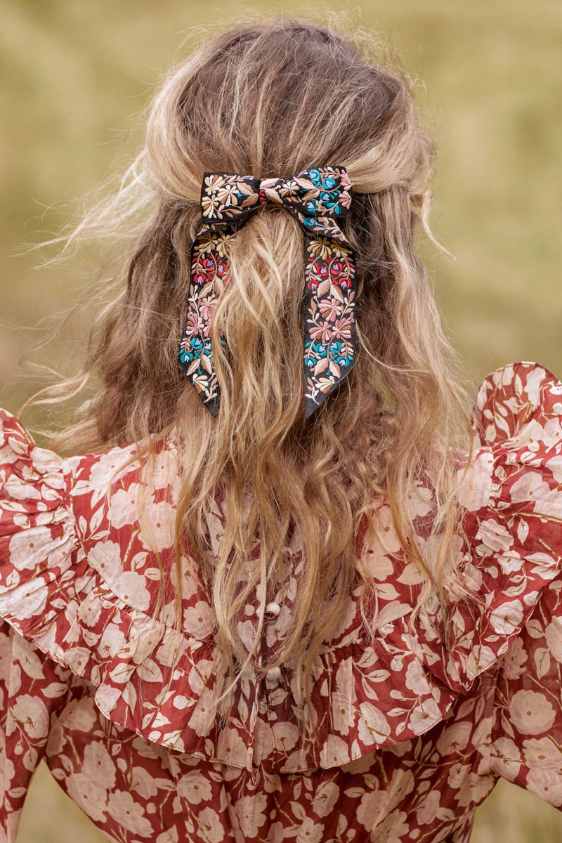 FLORA BOW HAIRCLIP - BLACK MULTI