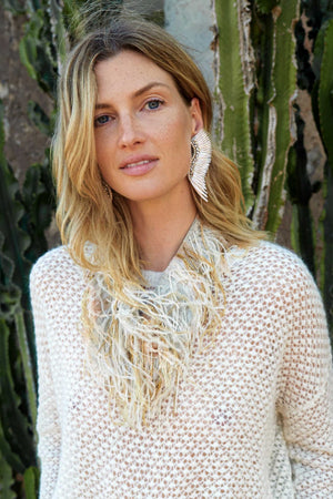 MARFA FEATHER BEADED BANDANA - NATURAL