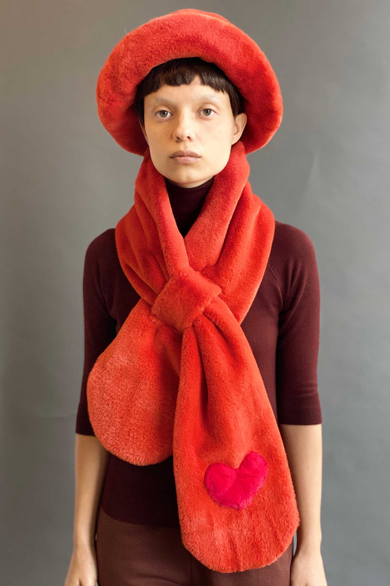 TEDDY LOVE SCARF in RUST