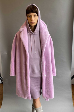 TEDDY BATHROBE COAT in LAVENDER