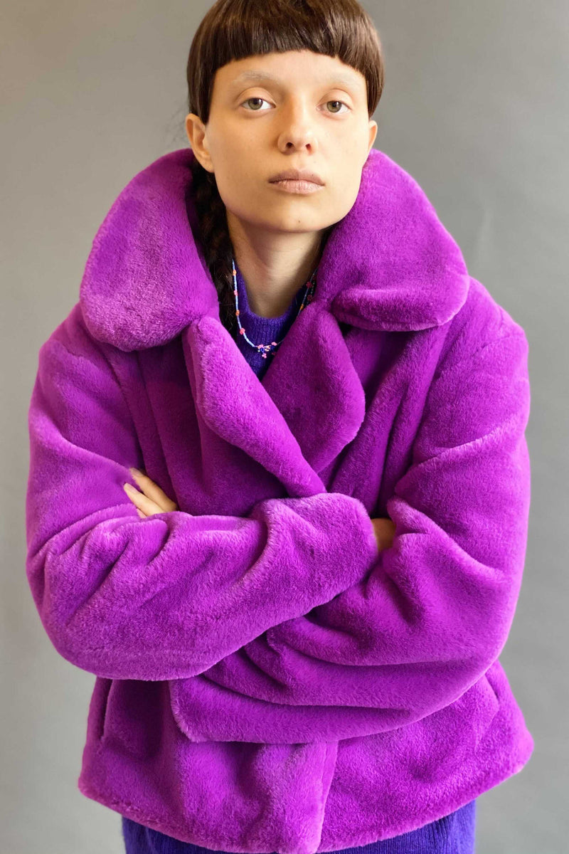 CLASSIC TEDDY JACKET in VIOLET
