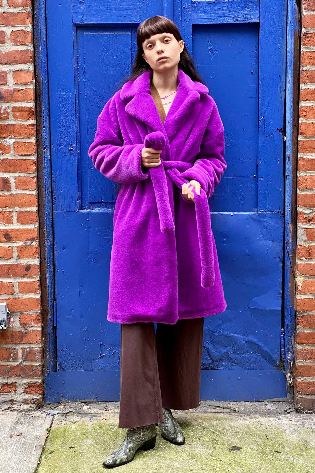 TEDDY BATHROBE COAT in VIOLET