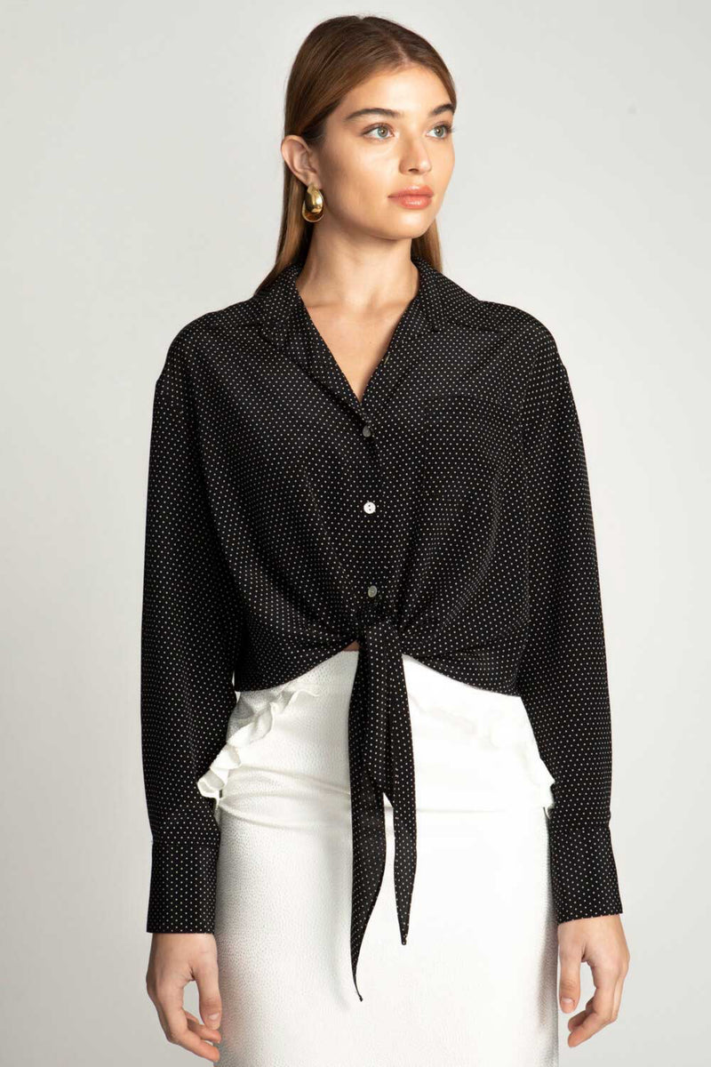 JULIETTE BLOUSE - BLACK PIN DOT