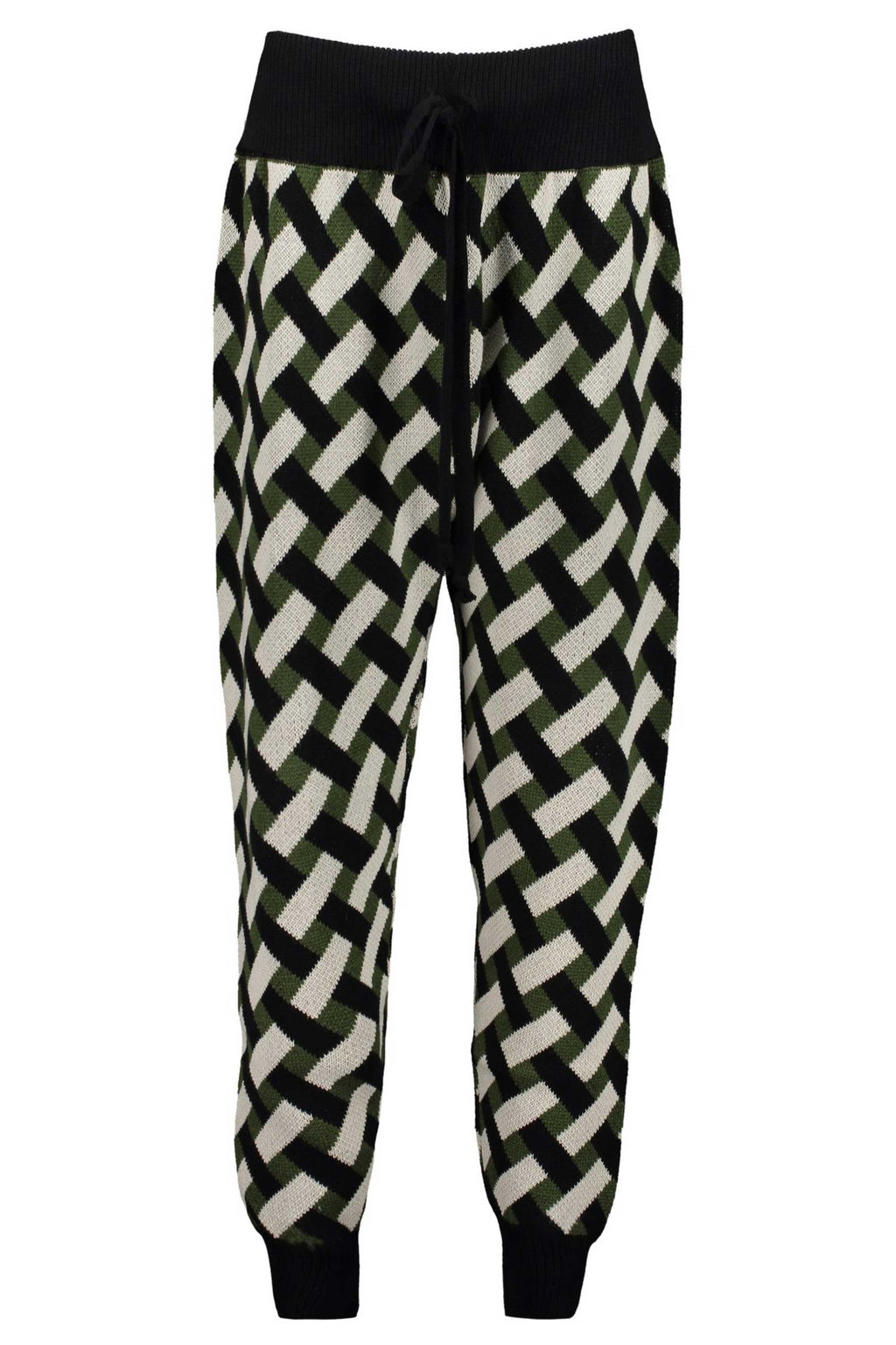 KNITTED PANT - GRN/BLK/ECRU