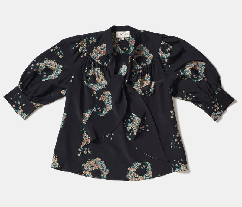 LALA BLOUSE - CROWN OF FLOWERS PRINT