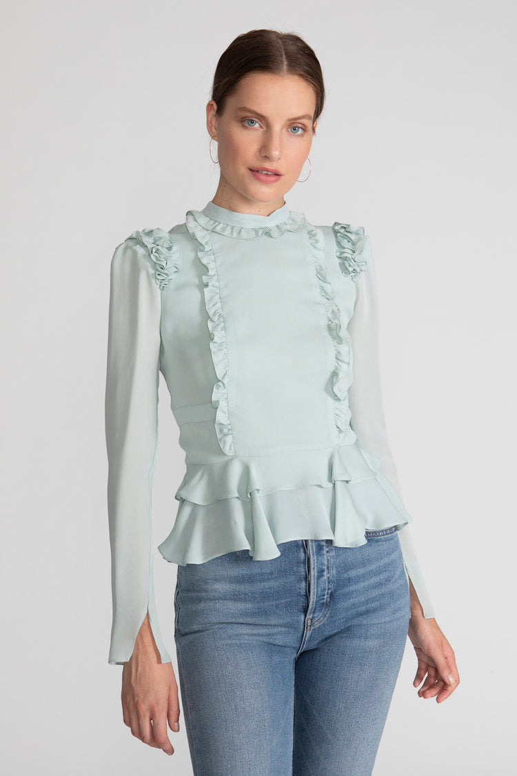 CHLOE BLOUSE in MINT CHIFFON