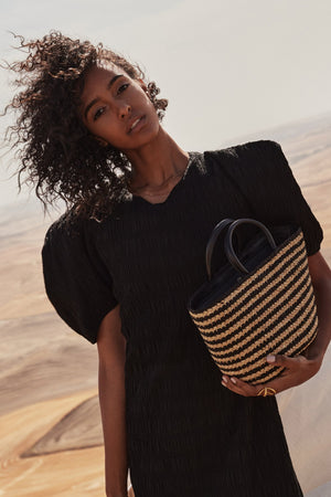 ZEBRA RAFFIA TOP HANDLE BAG