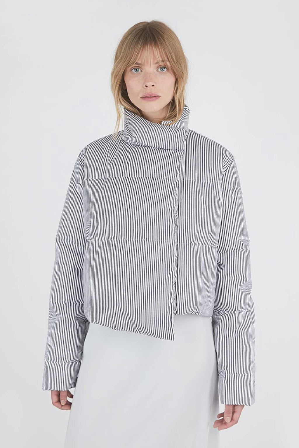 KHIRMA STRIPED CROPPED PUFFER - STRIPE