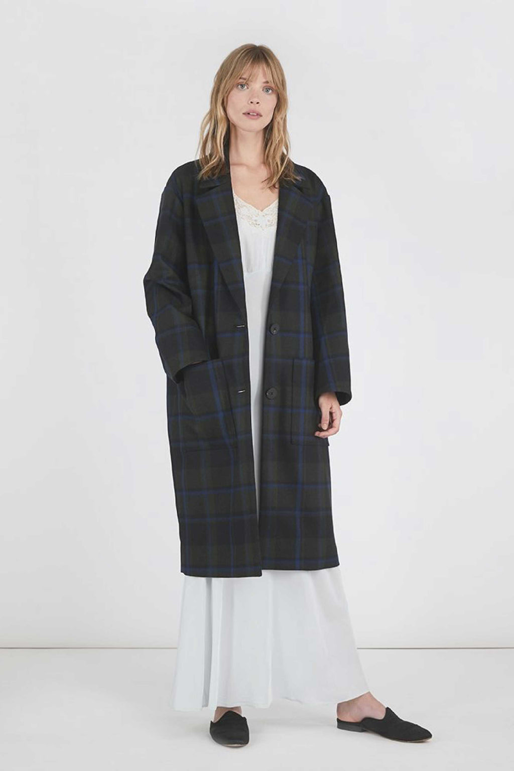 VERONICA OVERSIZED BOYFRIEND COAT - OLIVE BLUE PLAID