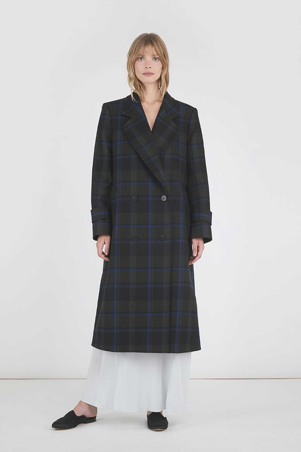 MELANIE DOUBLE BREASTED WOOL COAT - NAVY / GREEN PLAID