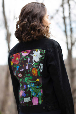 DENIM JACKET WITH GUCCI FLORAL SCARF - BLACK MULTI
