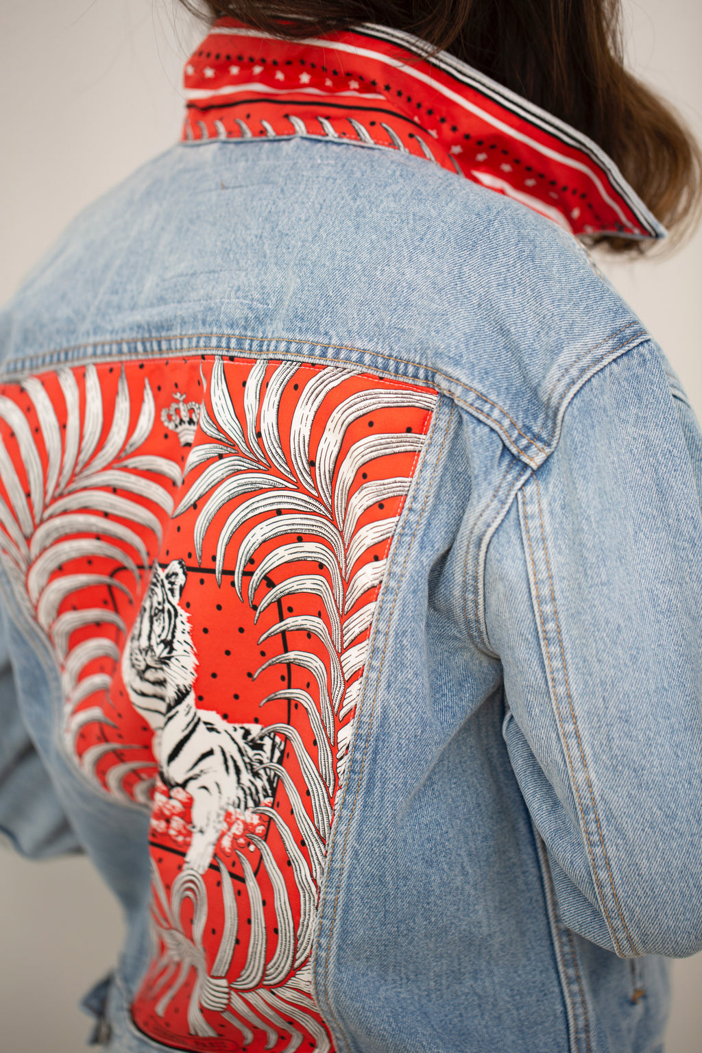 HERMES RED TIGER SCARF DENIM JACKET