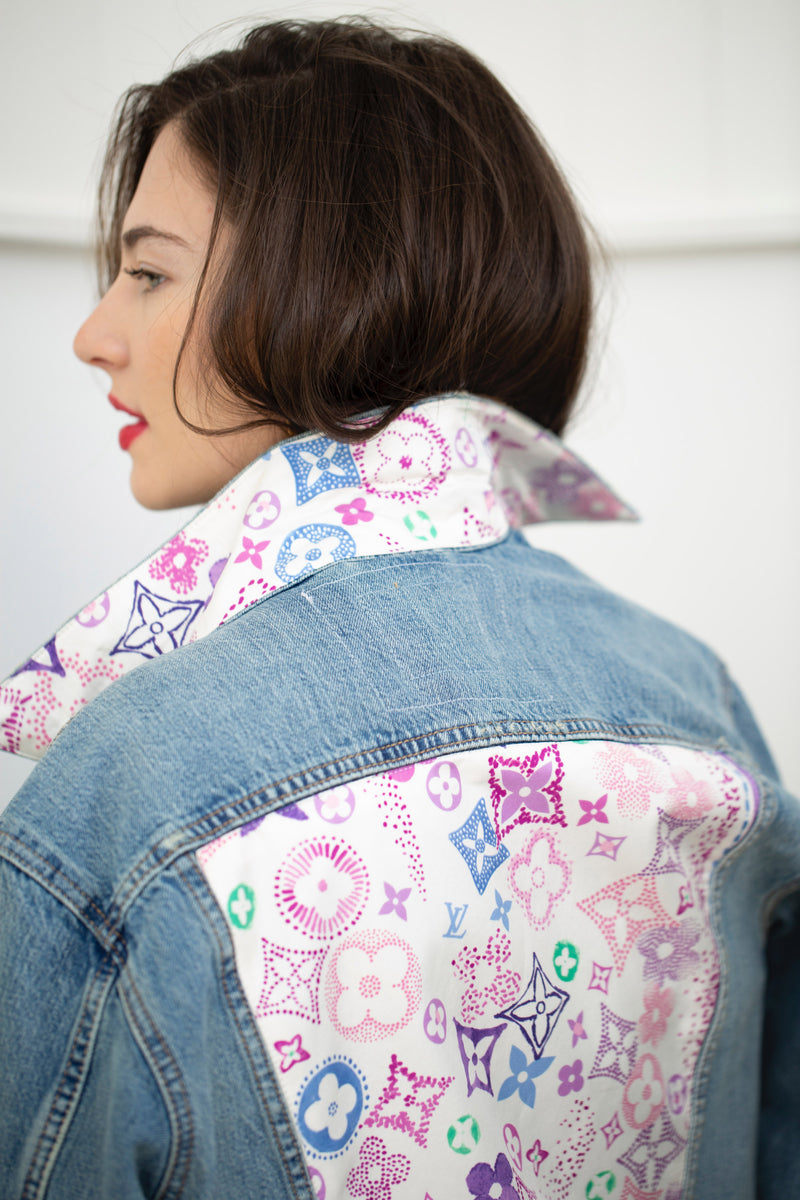 LOUIS VUITTON PASTEL FLEUR SCARF DENIM JACKET