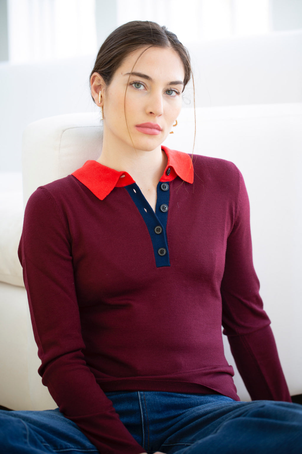 LONG SLEEVE COLORBLOCK POLO SWEATER in CHERRY