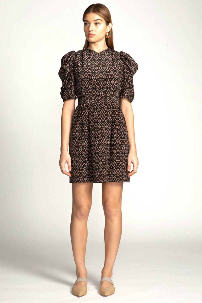 ODILE DRESS - BLACK CREAM IKAT