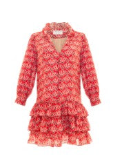 KAMINI DRESS - RED MULTI