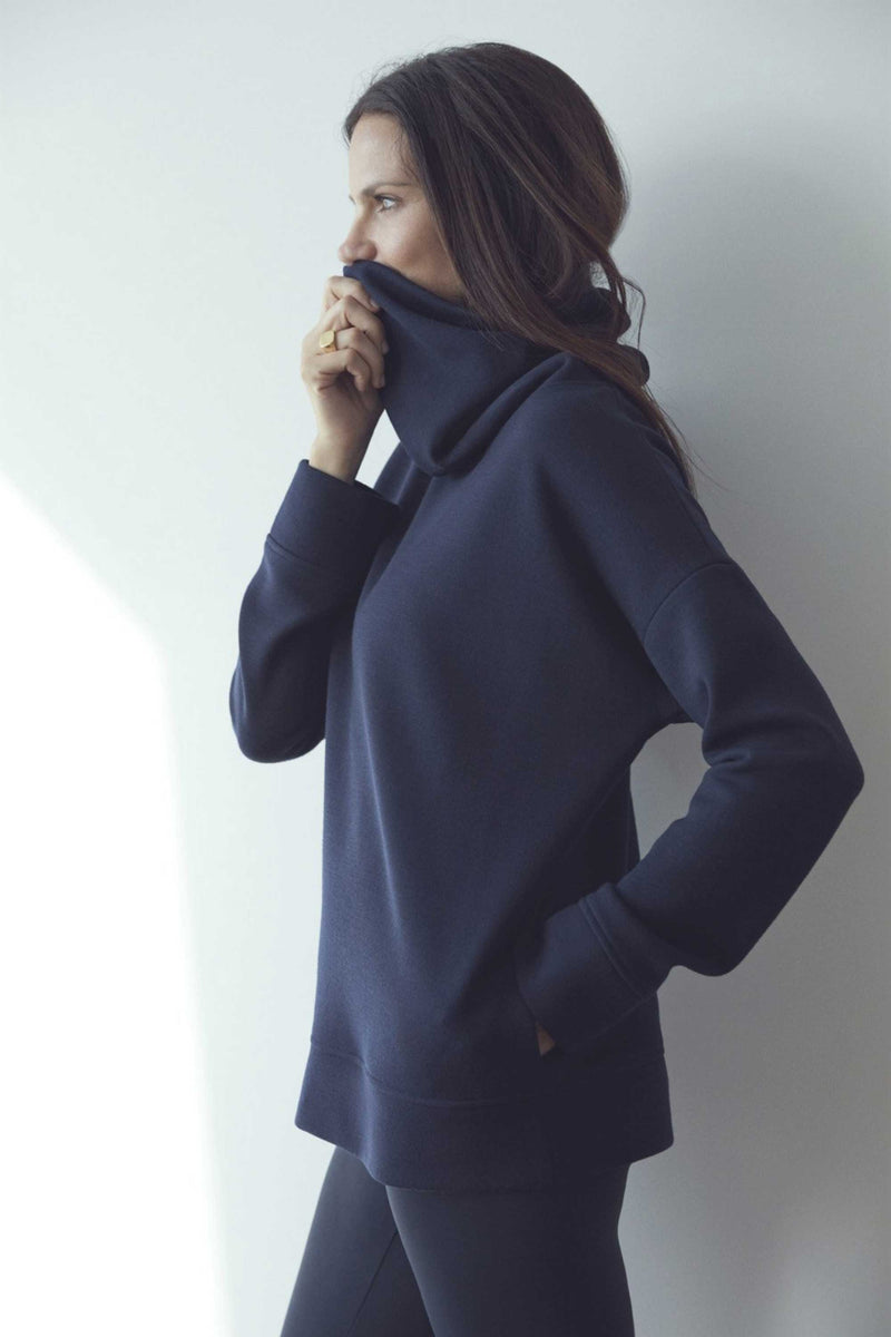 LUXE FUNNEL NECK SWEATSHIRT - MIDNIGHT NAVY
