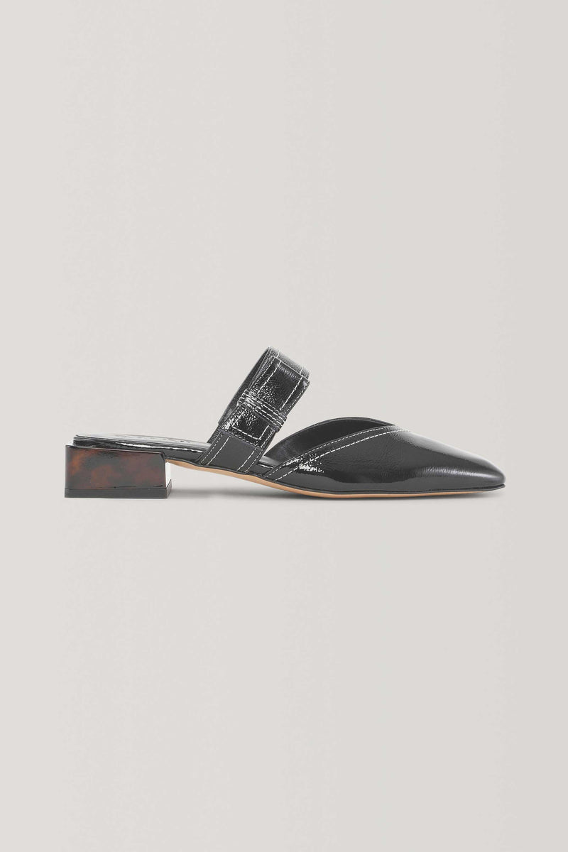 SQUARE TOE SLIP ON MULES - BLACK