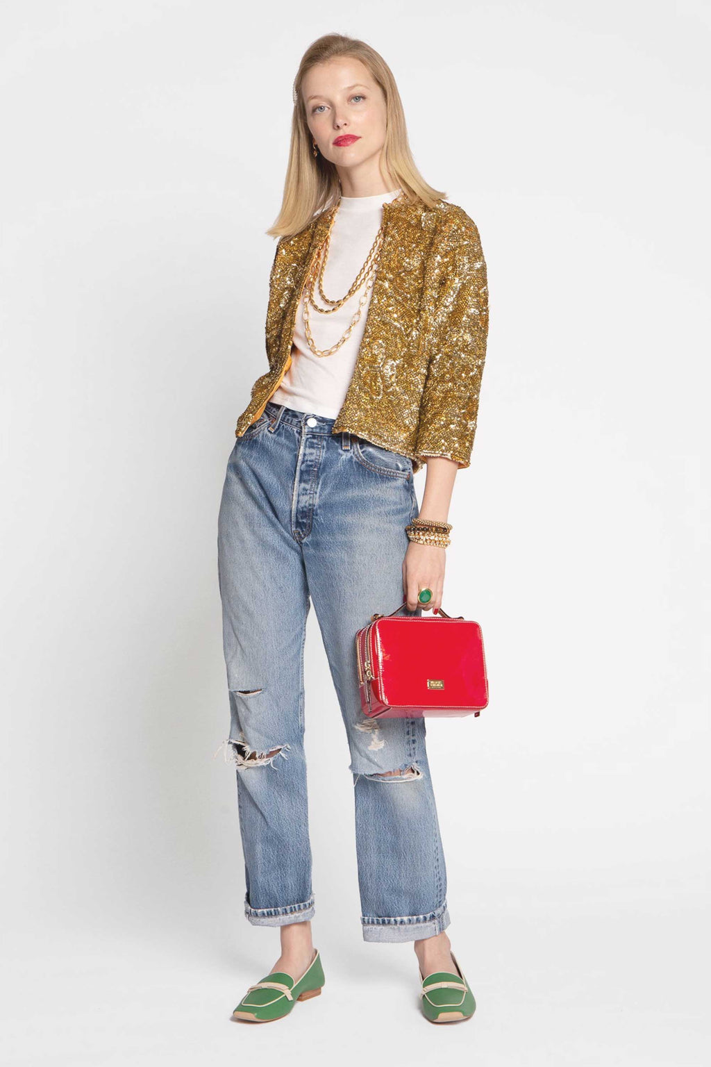 SEQUIN FLOWER JACKET - GOLD