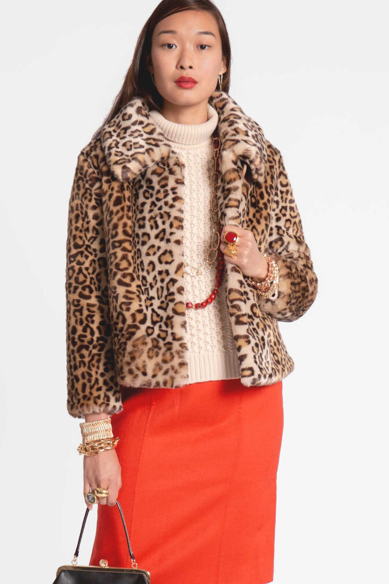 SHORT FAUX FUR LEOPARD JACKET - MULTI