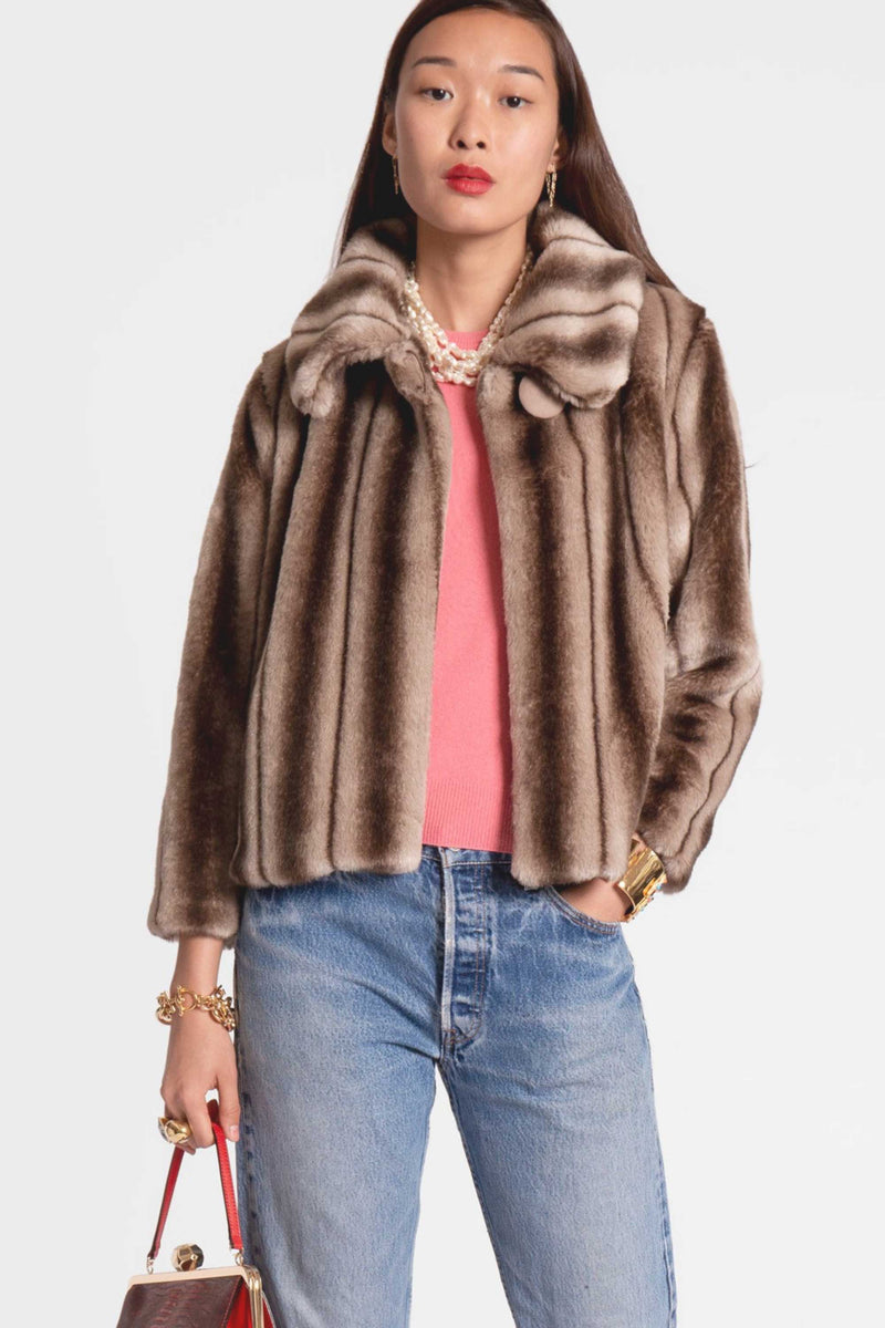SHORT FAUX FUR MINK JACKET - MULTI