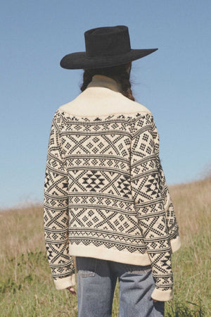 THE FAIR ISLE LODGE CARDIGAN - CREAM