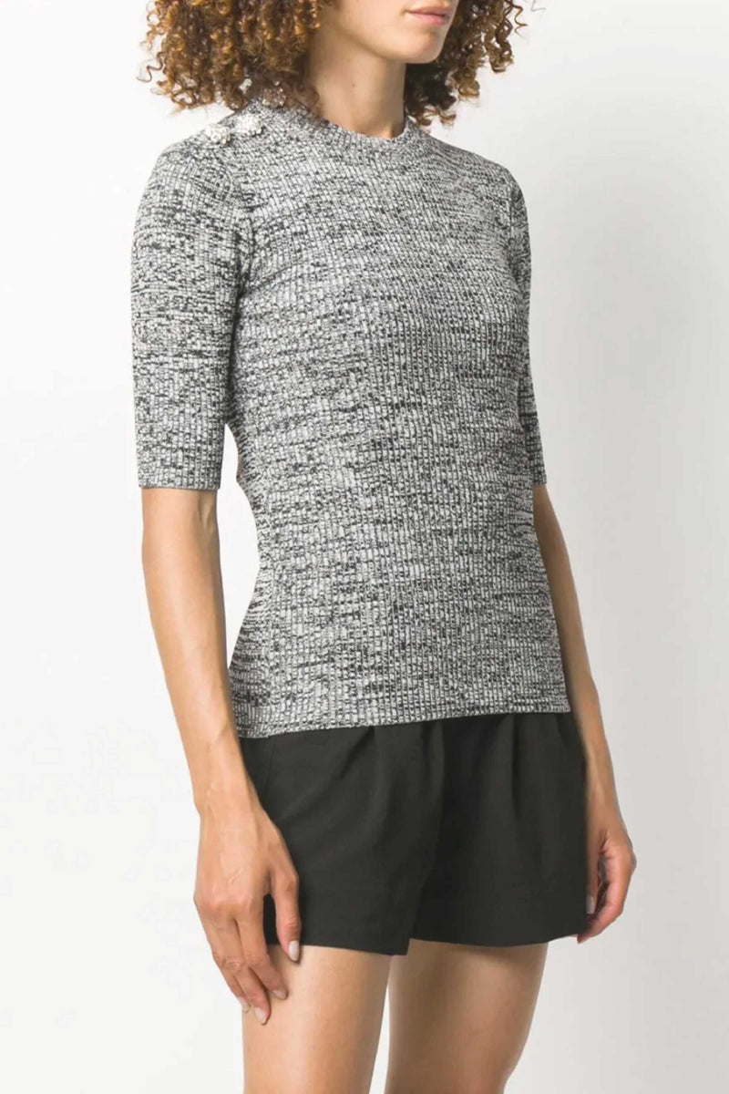 MELANGE KNIT WITH EMBELLISHMENT - GREY