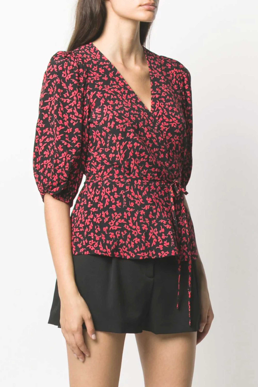 FLORAL WRAP BLOUSE - BLACK / RED
