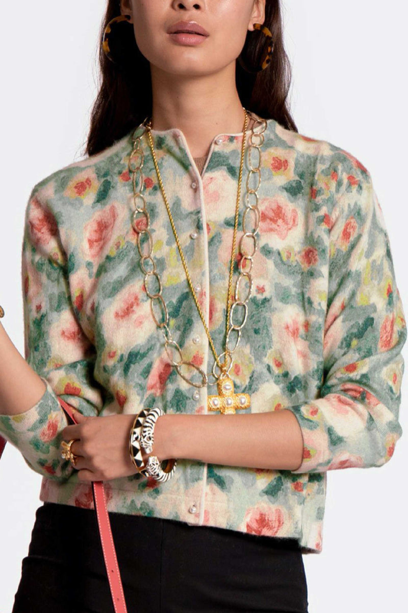 DARLING CARDIGAN LYON SWEATER - FLORAL MULTI