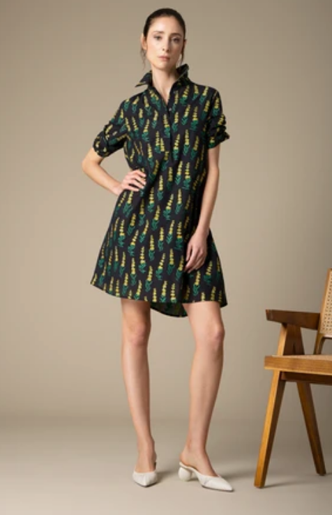 LULU DRESS - BLACK/YELLOW WILDFLOWER