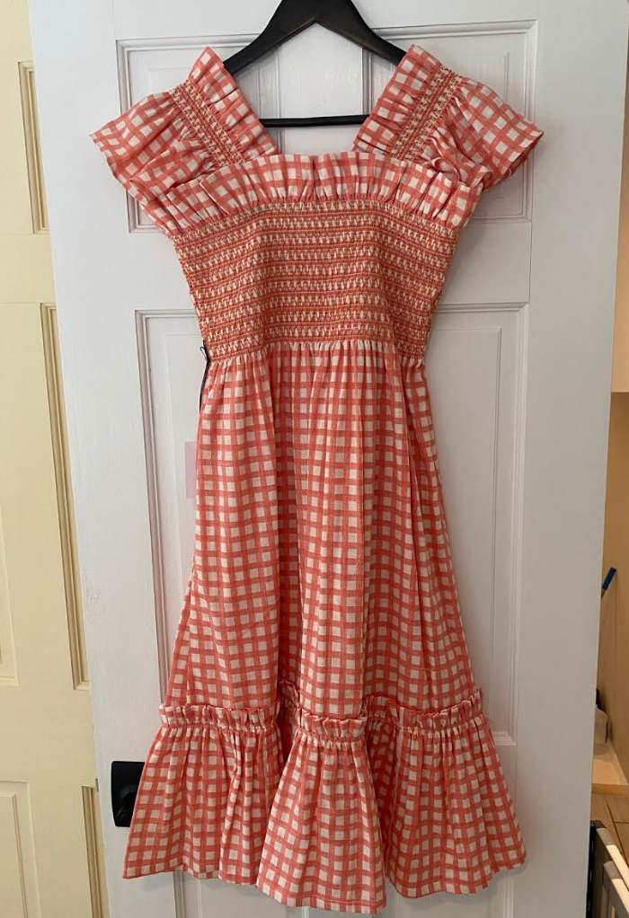 CORAL GINGHAM DRESS