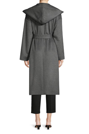 PIPER HOODED CASHMERE COAT - HEATHER GREY
