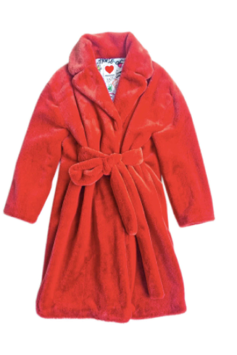 TEDDY BATHROBE COAT in RUST