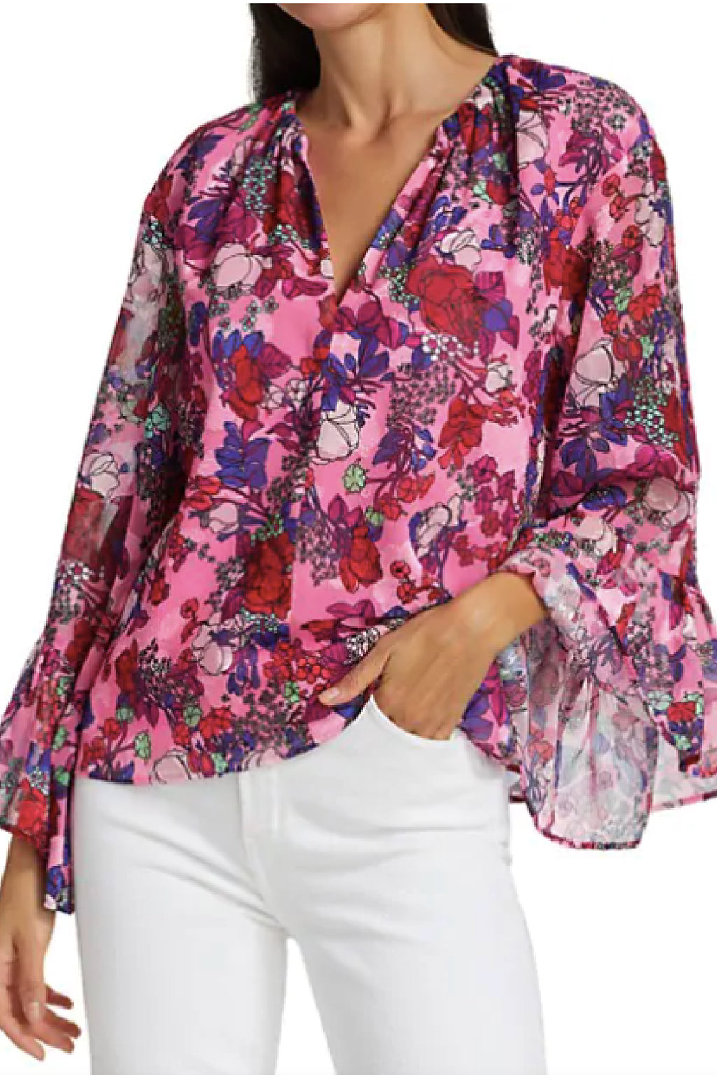 HARPER TOP in FLORAL NEON PINK