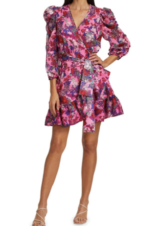 SASHA DRESS in FLORAL NEON PINK