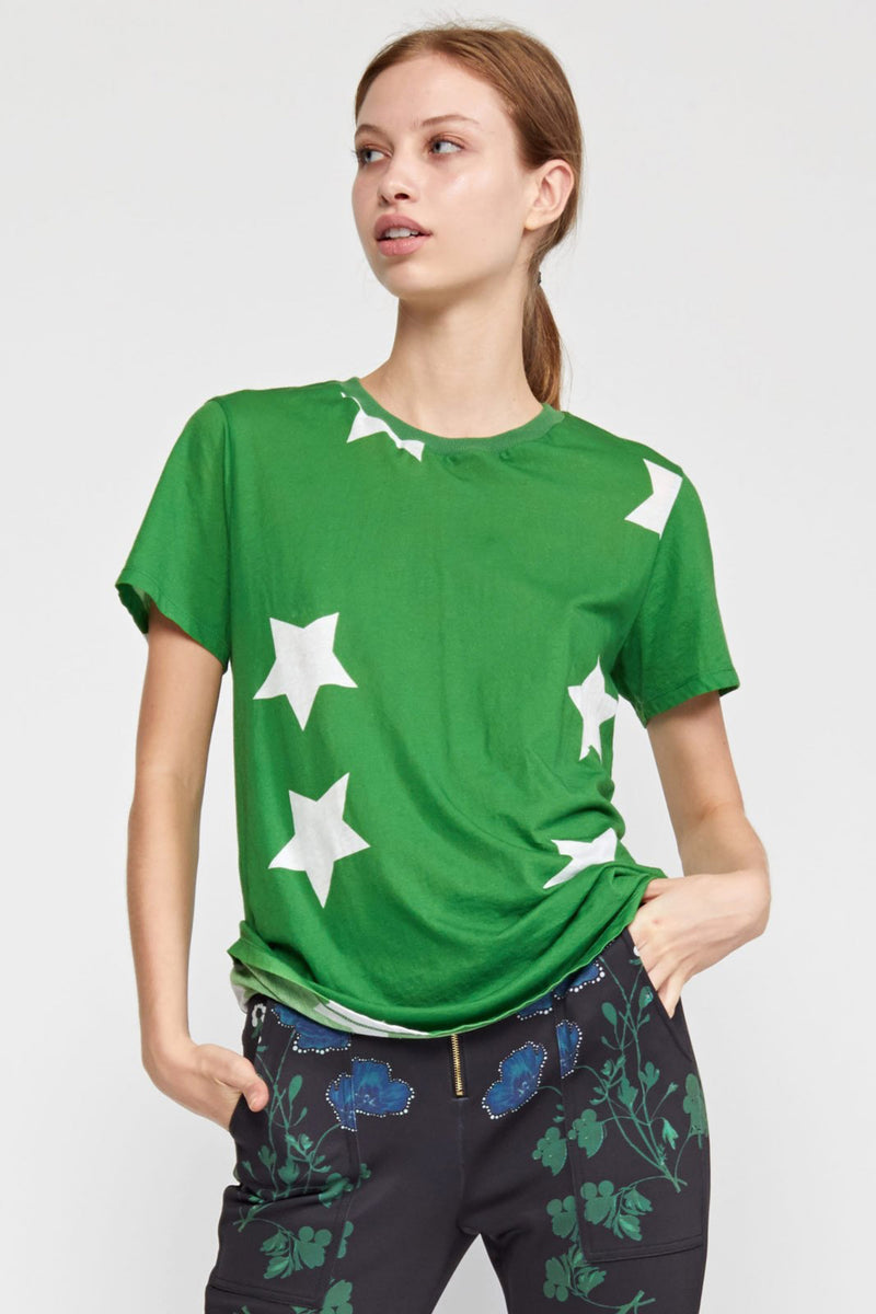 PRINTED STARS TEE in GREEN & WHITE