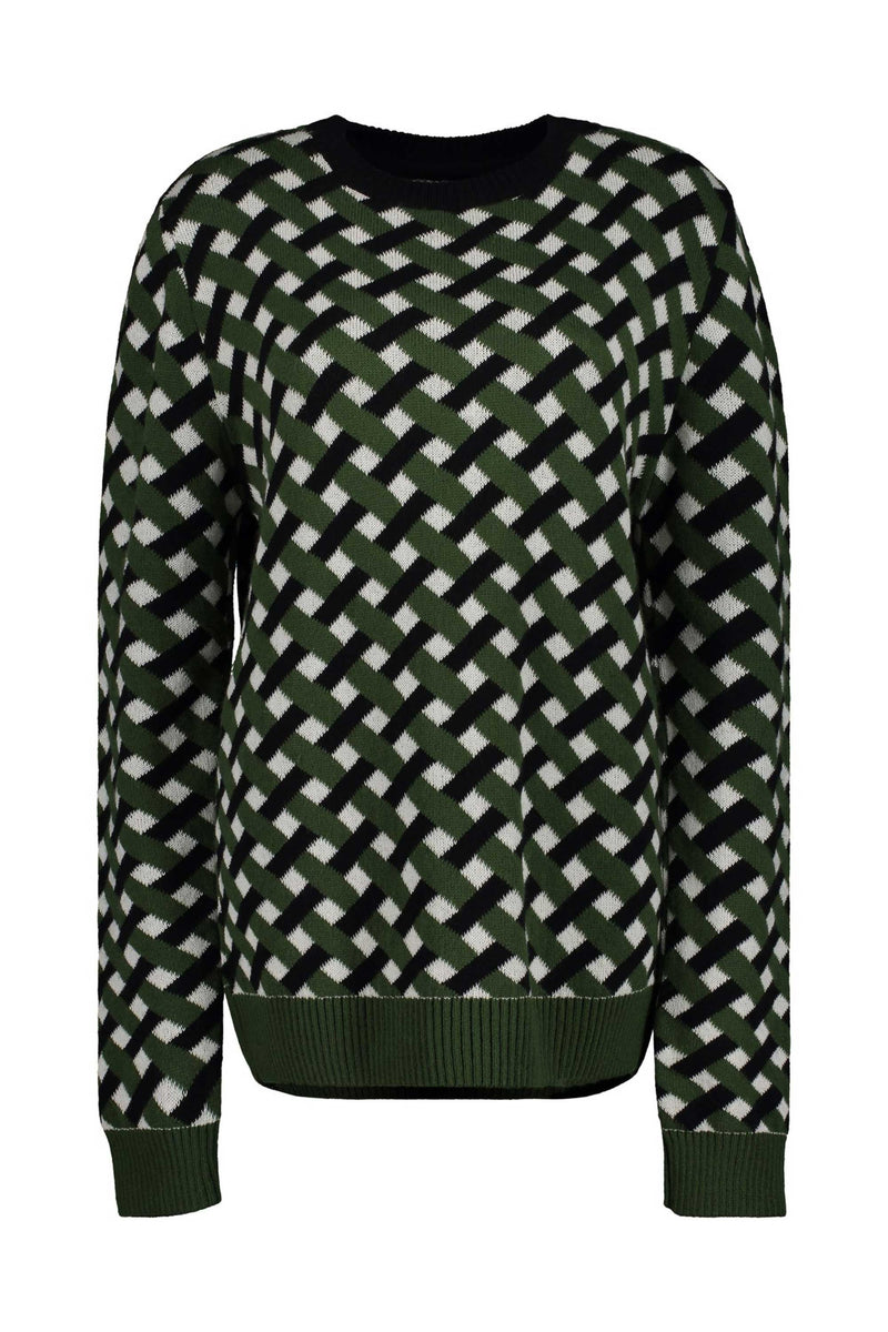 LONG SLEEVE SWEATER - GRN/BLK/ECRU