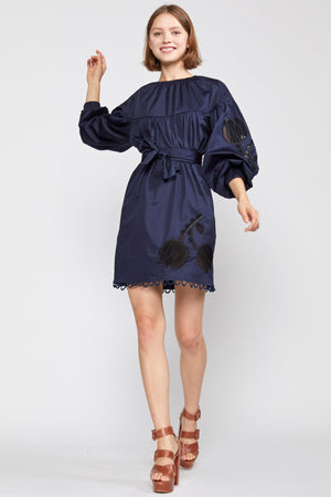 TULIP LACE EMBROIDERED DRESS in NAVY