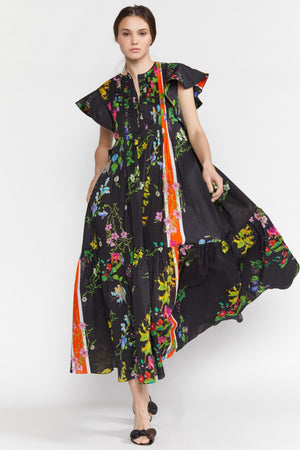 NAIROBI BOTANICAL KAFTAN in BLACK