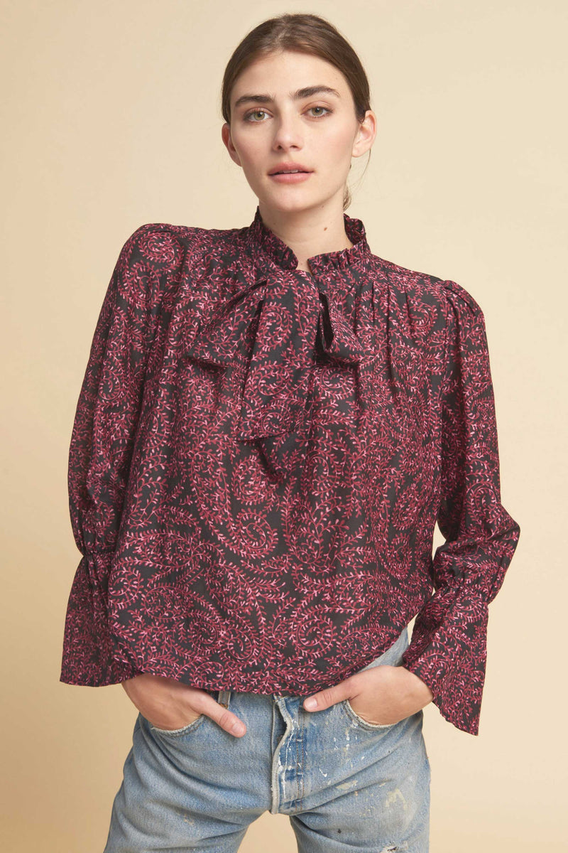 AUGUST BLOUSE - BLACK MULTI