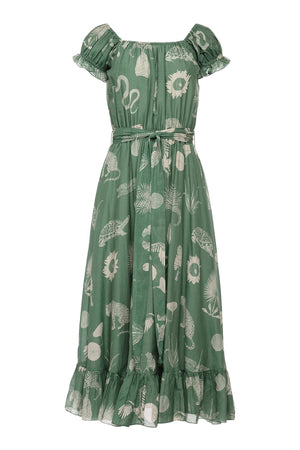 ALEXA DRESS - DESERT ANIMALS GREEN