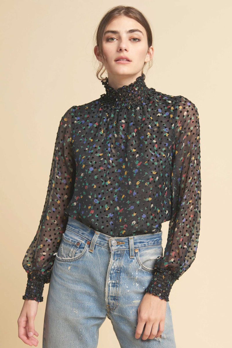 DAISY BLOUSE - BLACK MULTI